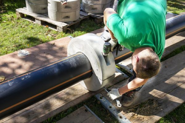 Backup pipeline for sewer at 66 m water depth